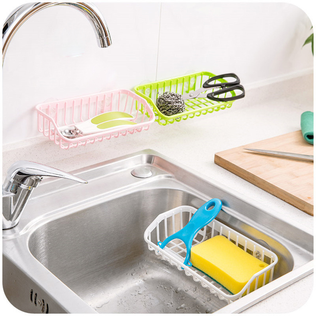 Strong Sucker Kitchen Sink Storage Basket Faucet Soap Holder Organizer  Drainer Wall Mount Bathroom Shelving Soap