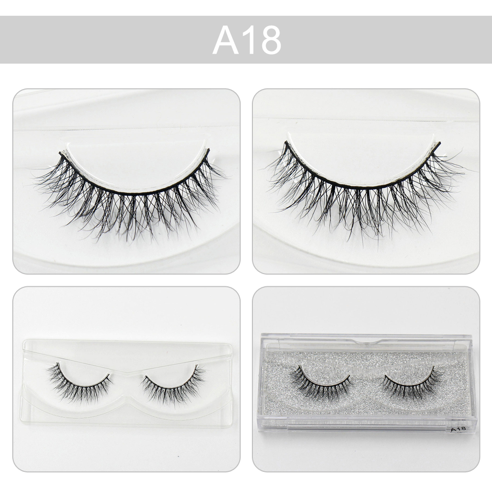 AMAOLASH Mink Lashes 3D Mink False Eyelashes Long Lasting Lashes Natural Mink Eyelashes Glitter Packaging 1 Pair A08-A18