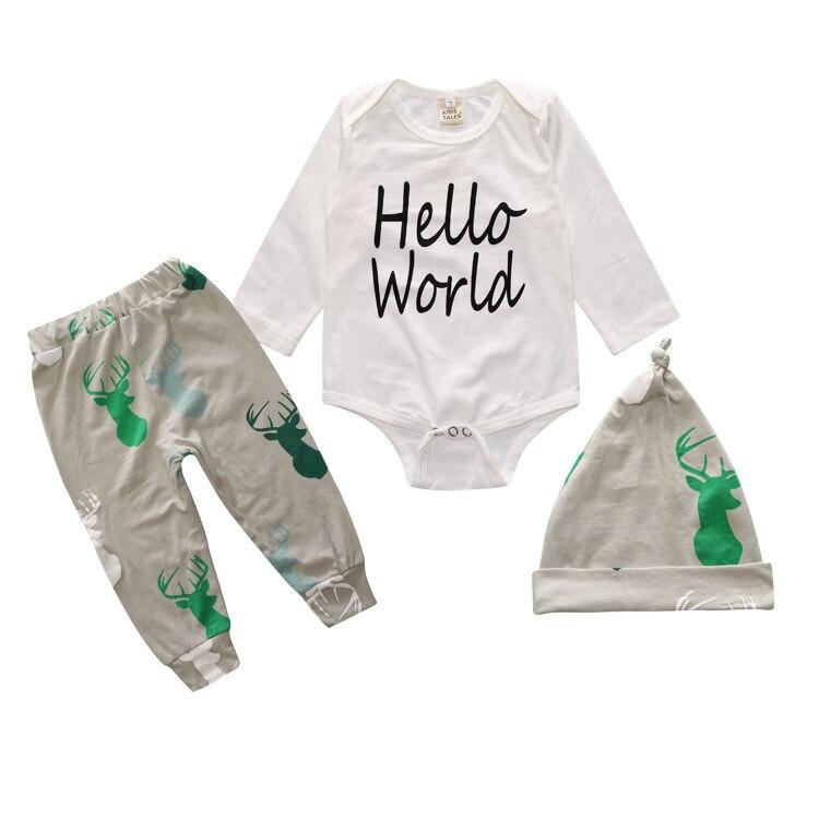 Nouveau 2018 mode bébé garçon vêtements coton lettres à manches longues  t-shirt + gris pantalon + chapeau bébé vêtements 3 pièces de vêtements bébé ac1b961c48e5