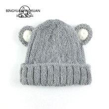 BINGYUANHAOXUAN Baby Hat Ball Ears Children Skullies Beanie Girl Boy Winter Warm Cap Knitted Photography Accessories