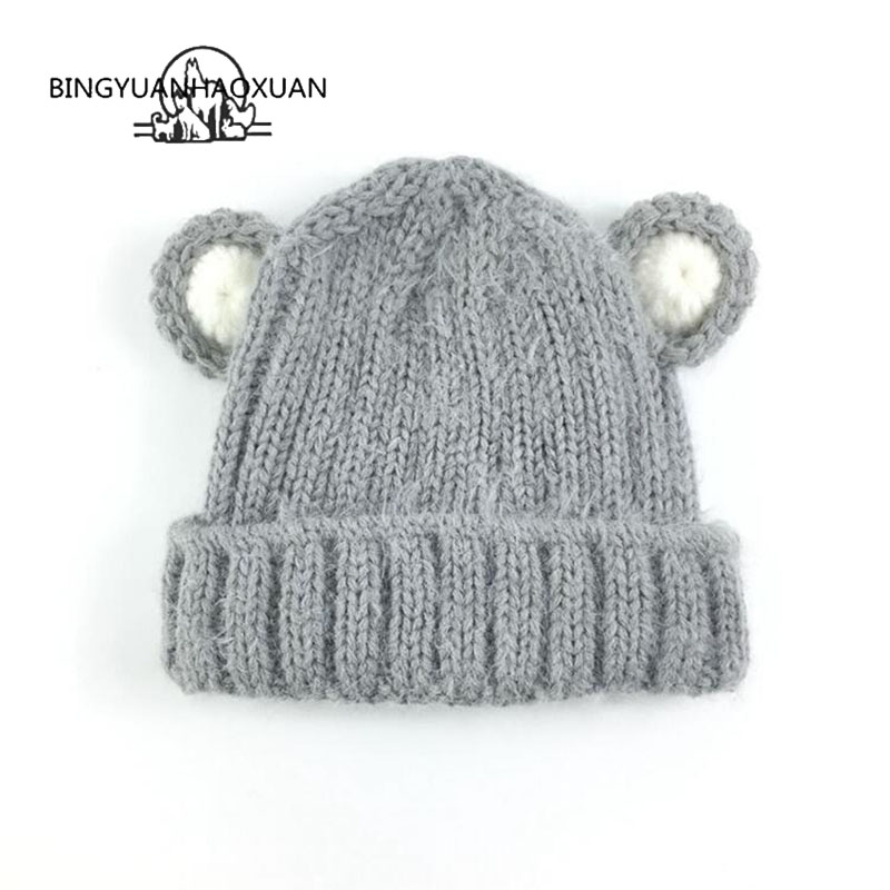 BINGYUANHAOXUAN Baby Hat Ball Ears Children   Skullies     Beanie   Girl Boy Winter Warm Cap Knitted Hat Photography Accessories