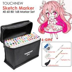 Touchfive 40/60/80/168 Color marcador de animación de la pluma de dibujo plumas para dibujo arte marcadores Alcohol arte suministros con 6 regalos