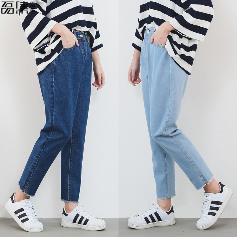 Harem   jeans   for woman high waist 2018 fashion loose Vintage plus size blue Ankle Length denim pencil pant 6XL