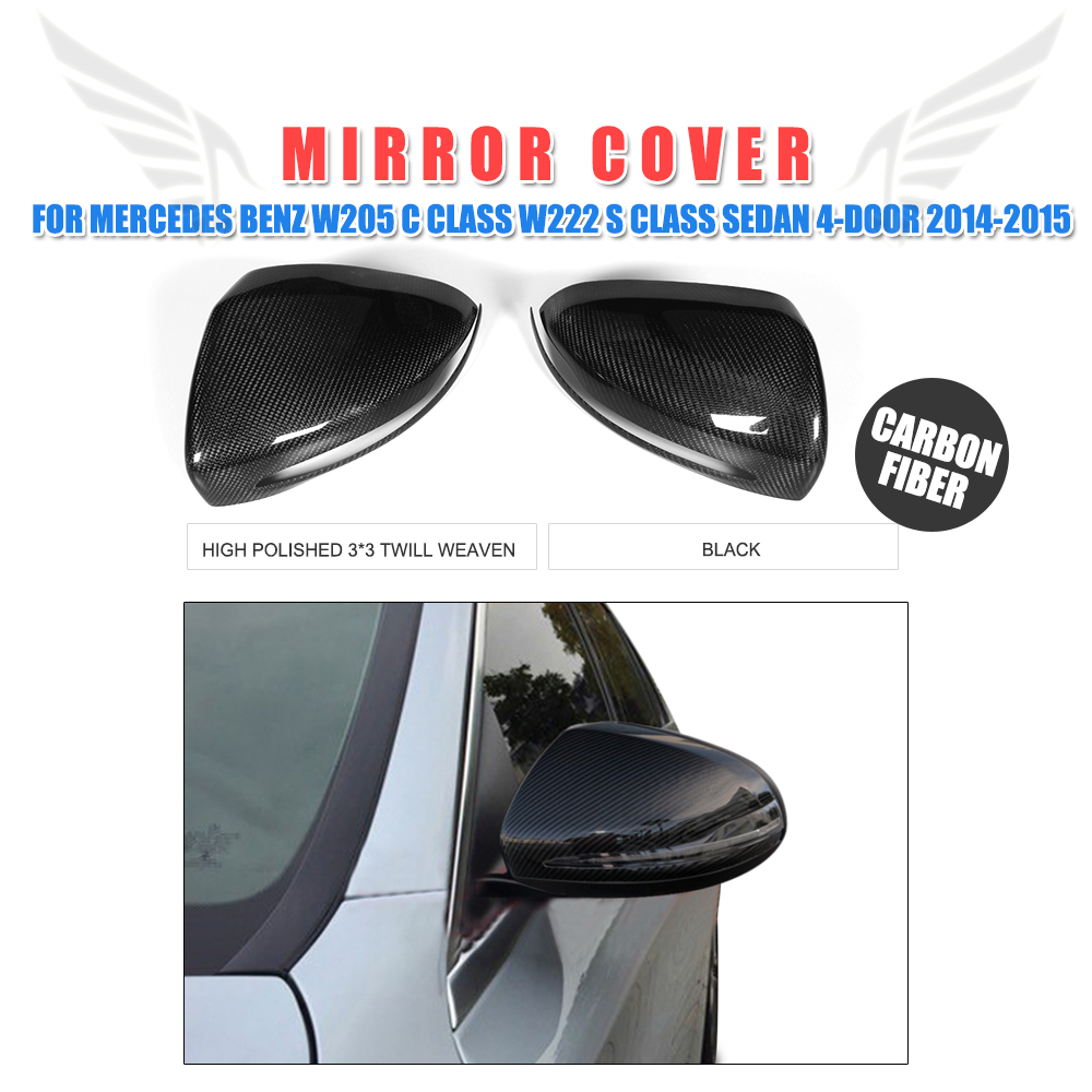 Carbon Fiber Rearview Mirror Covers Caps Add on style for Mercedes Benz W205 W222 S Class Sedan 4-Door 2014-2015 Left Hand Drive ct6 replacement carbon fiber side mirror caps for cadillac ct6 4 door sedan 2016 2017