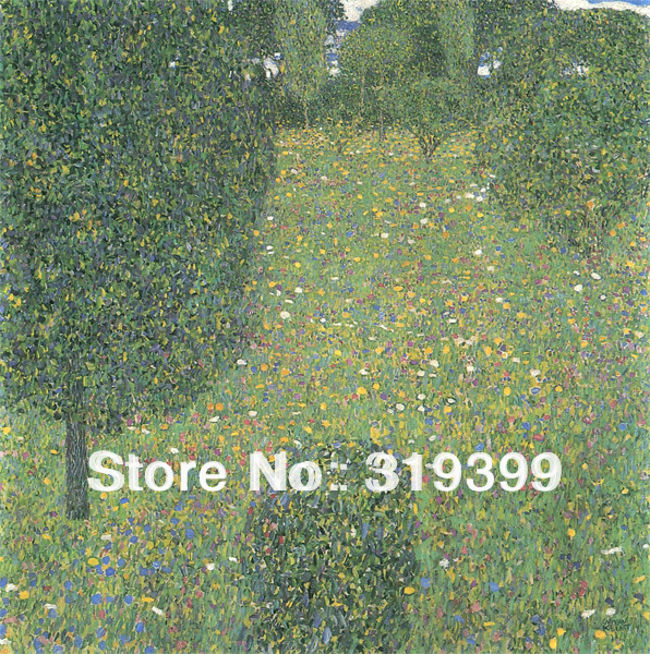 Oil Painting reproduction on Linen Canvas,Flower Field by Gustav Klimt,Free fast ship,Handmade,Museam Quality