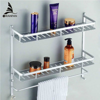 Bathroom Shelves Two Layer Modern Metal Wall Rack Towel Hooks Washing Shower Basket Shelf Towel Bars Bath Furniture Holder 8840