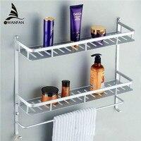 Bathroom Shelves Two Layer Modern Metal Wall Rack Towel Hooks Washing Shower Basket Shelf Towel Bars Bath Furniture Holder 8840