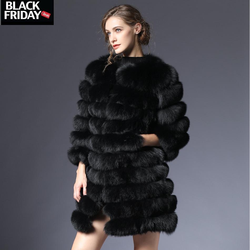 Donne cappotto di pelliccia di volpe reale naturale di Inverno Genuino naturale donne cappotto di Pelliccia di Volpe con Pelliccia della maglia della ragazza delle donne del Cappotto gilet di volpe cappotti DHL