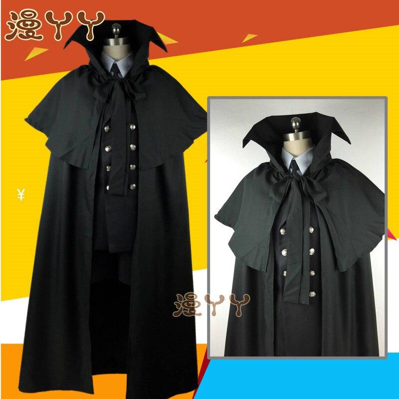 Costume funéraire Cos kuroshisuji Anime chaud noir majordome Ciel fantôme Cosplay quotidien vêtements ensemble ont chapeau cape anneau lunettes - 2