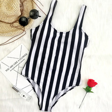 European American style solid color simple sexy halter sexy black white ONE PIECE SWIMSUIT without chest pad Bathing Suits D060