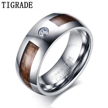 Tigrade Wood Inlay Men Rings 8mm Tungsten Carbide Anillos Para Hombres Vintage Wooden Ringen Wedding Engagement Jewelry Personal