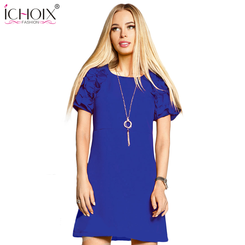 2019 Summer Casual Women A-Line Dresses Solid Fashion Short Sleeve - Ropa de mujer