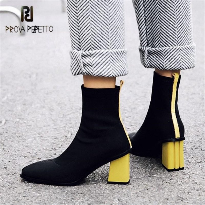 Prova Perfetto 2018 New Fashion Women Stretch Fabric Sock Boots Female Ankle Boots 7CM High Heels