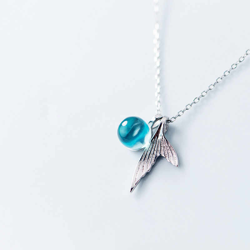 72d569967 ... 100% 925 Sterling Silver Blue Crystal Mermaid Pendant Necklace For  Women Wedding Birthday Gift Creative ...