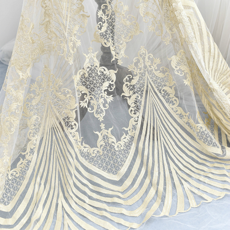 130cm Wide High Quality Light Gold Embroidered Sequins Lace Fabric Wedding Dress Diy Mesh Clothing Model Show Costume Material130cm Wide High Quality Light Gold Embroidered Sequins Lace Fabric Wedding Dress Diy Mesh Clothing Model Show Costume Material