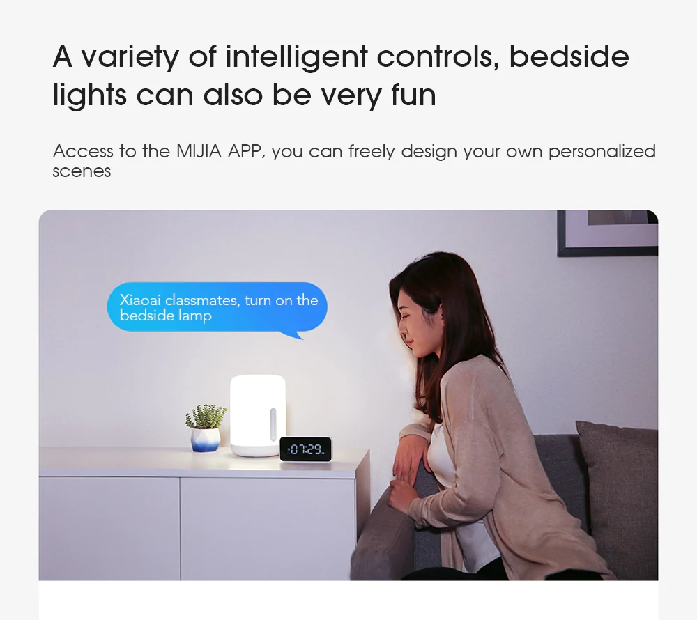 Smart Bedside Table Lamp LED Light Bluetooth WiFi Touch APP Voice Control For Apple HomeKit Siri
