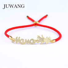 JUWANG Trendy Mother and Crown Boy Charm Red/Gray/Black Rope Bracelet for Woman Girl Children Cubic Zircon Jewelry
