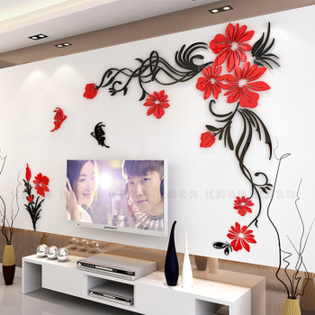 Creative flower 3D stereo acrylic wall sticker background warm decoration Large Size Mural Home Decor Living Room Wall Decals 7