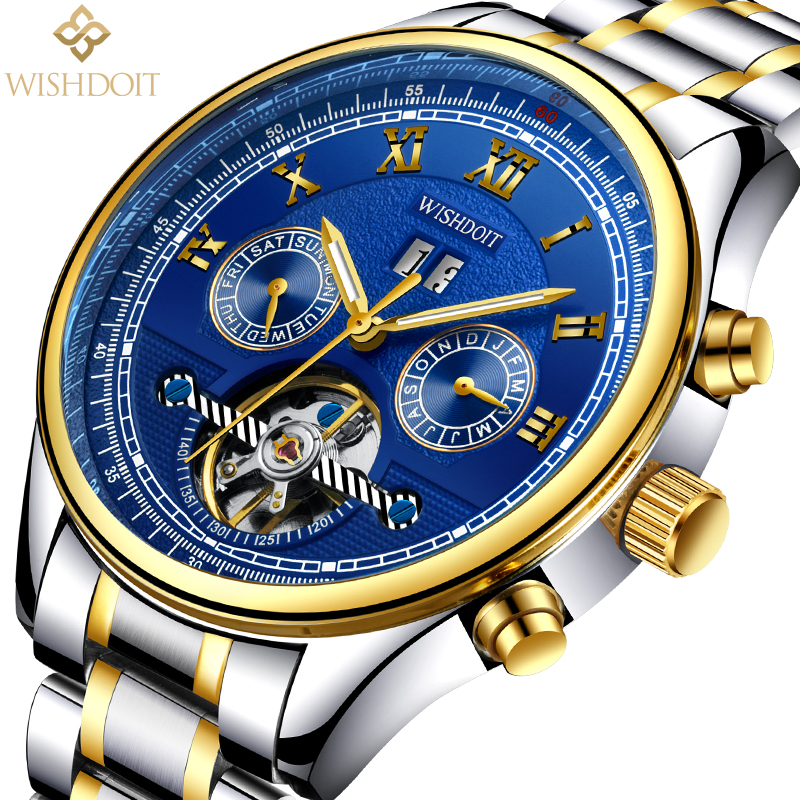 WISHDOIT New mens watches top brand luxury Fashion casual business sports men automatic mechanical watchs Men's watch Male clock luxury mens automatic mechanical watch men fashion casual business watches male stainless steel clock wristwatches reloj hombre