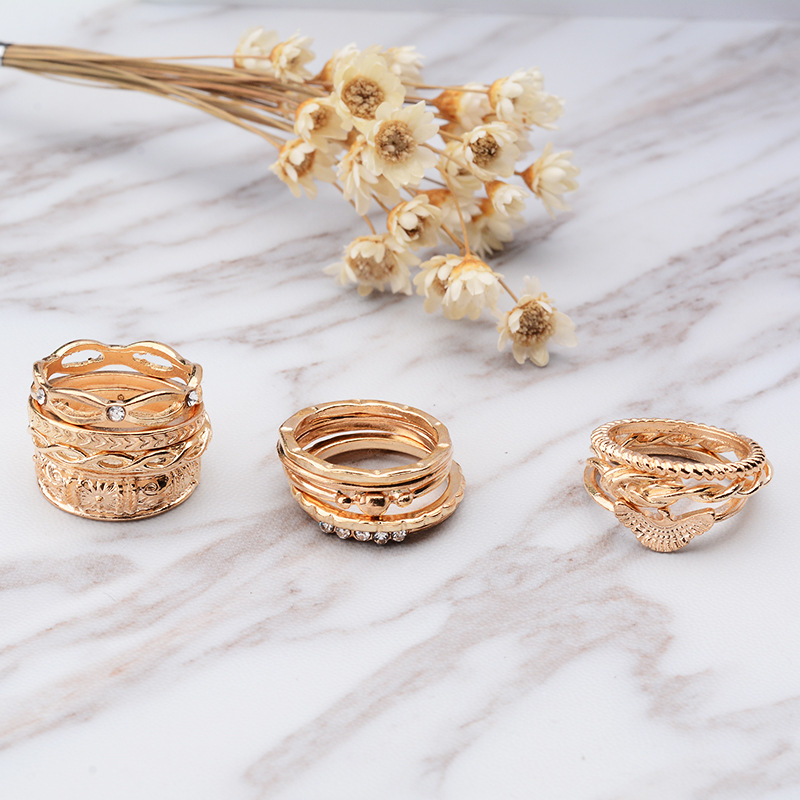 New Fashion Vintage Carving Ring Sets Gold-color Punk Knuckle Rings For Women Anillos Mujer Jewellery 14PCS/Set