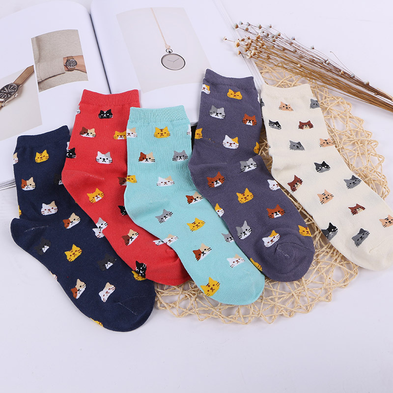 Spring And Summer Sweet Fashion Cotton Socks Personality Cat Head Pattern Casual Socks