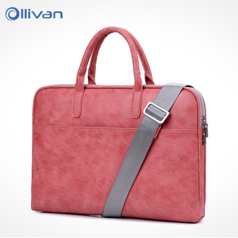 OLLIVAN Female Laptop Bag Fashion Soft Leather Handbag Shoulder Bag 13,14,15 Inches Waterproof Scratchproof Shockproof Package