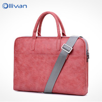 OLLIVAN Female Laptop Bag Fashion Soft Leather Handbag Shoulder Bag 13 14 15 Inches Waterproof Scratchproof