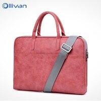 OLLIVAN Female Laptop Bag Fashion Soft Leather Handbag Shoulder Bag 13 14 15 Inches Waterproof Scratchproof