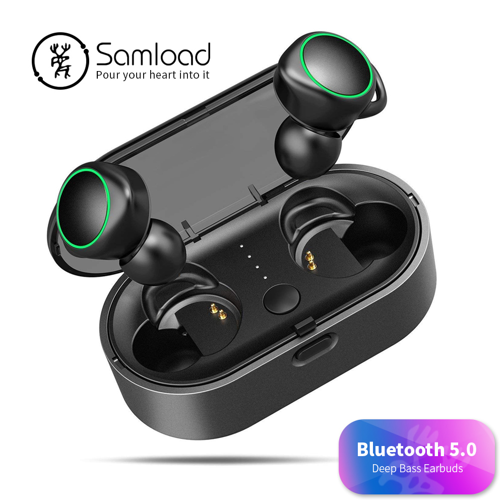 Samload Business Bluetooth Earphone 5.0 Wireless 3D Hifi Stereo Earbuds Headset Games Headphones For iPhone 6 7 8 X Xs Xr Xiaomi i9s tws wireless earphone portable bluetooth headset invisible earbud for iphone xs max xr x 8 7 6 plus for xiaomi mobile phone