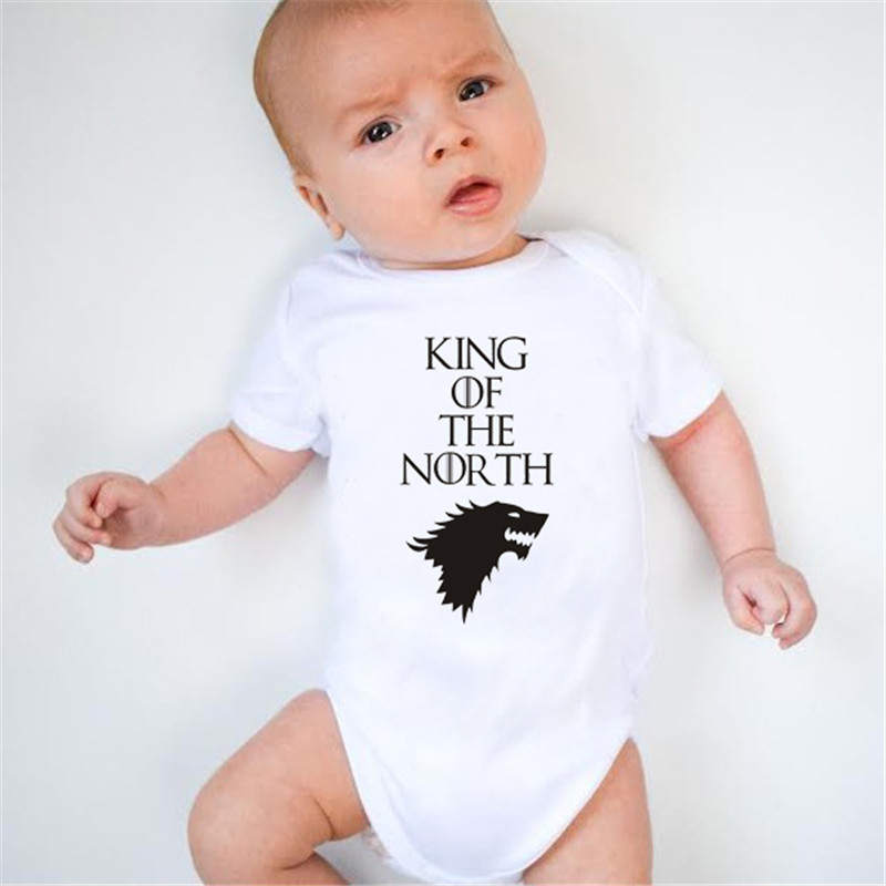 HY0075 King Of The North Print Baby Rompers Funny Print Unisex Baby Onesie