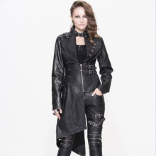 Devil Fashion 2017 Gothic Vintage Black Asymmetric Womens Winter Jackets Steampunk Rock Leather Texture Coats with Buckle Collar