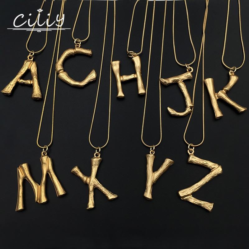 ciliy new charms hip hop fashion big gold chain letter necklace pendants personalized clavicle necklace women jewelry yl0189