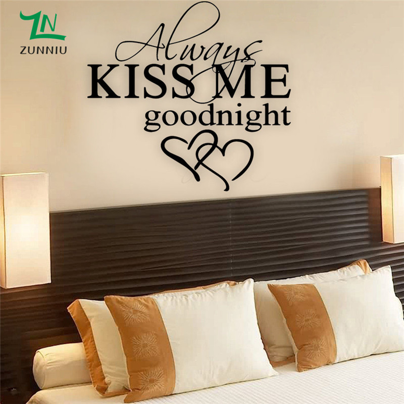 US $12.99 |J53 Always Kiss Me Good Night Love Quote Wall Stickers Couple  Bedroom Removable Wall Decals DIY Romantic Mural Home Decor-in Wall  Stickers ...