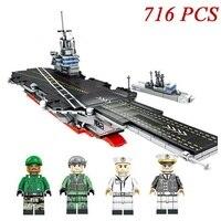 716pcs Military Warship Armed Nimitz Class Aircraft Model Building Blocks Compatible Legoings Weapon Bricks Sets Kids Toys Gifts