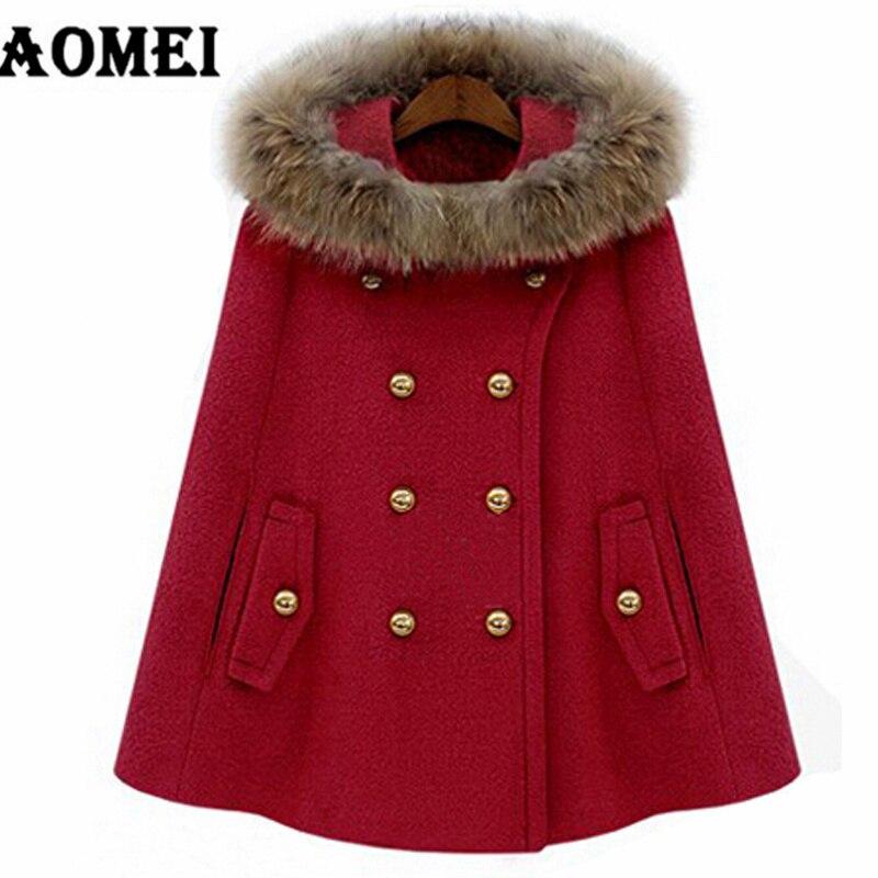 Пальто из кашемира для женщин, зима-осень, теплая шерстяная шапка со съемным меховым воротником, двойная кнопка, женская верхняя одежда, манто - Цвет: Красный