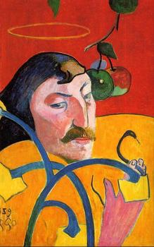 High quality Oil painting Canvas Reproductions Self Portrait with Halo (1889)  by Paul Gauguin hand painted
