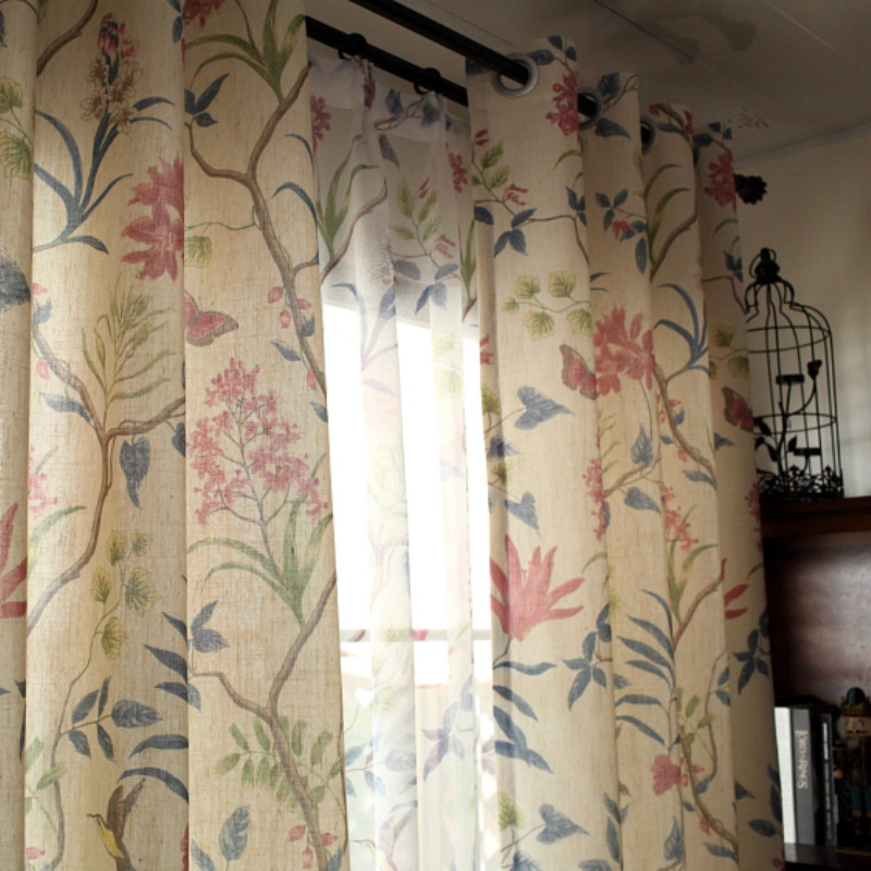 American Semi-Blackout Curtains For Living Room Bedroom Pastoral Luxury Curtain Flower Printed Countryside Sheer Curtains Drape