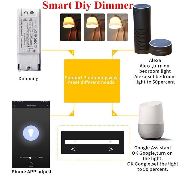 Control de voz Wifi DIY interruptor de atenuación inalámbrico módulo de Control remoto inteligente hogar automatización luces interruptores funciona con Alexa