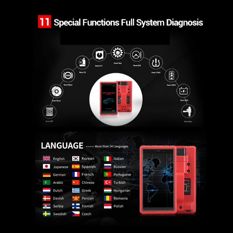 Image 4 - LAUNCH X431 Pros Mini Auto diagnostic tool Support WiFi Bluetooth Full system X431 Pro Mini Car Scanner 2 years free update scan-in Engine Analyzer from Automobiles & Motorcycles