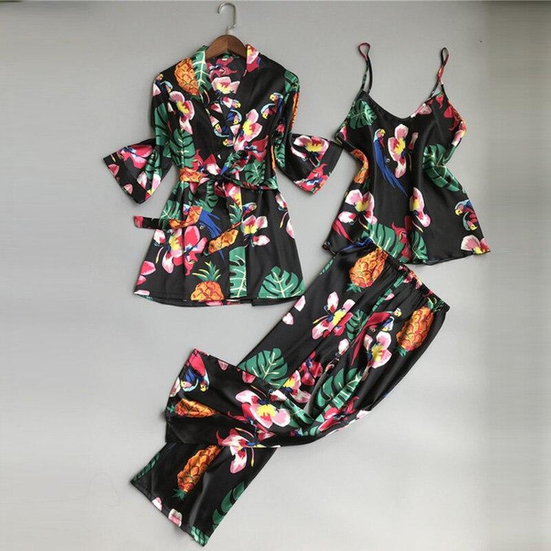Пижама для сна, атласная пижама с цветочным принтом, женская пижама, комплект, элегантные пижамы, Женская Осенняя Ночная одежда, 3 предмета, женский домашний костюм
