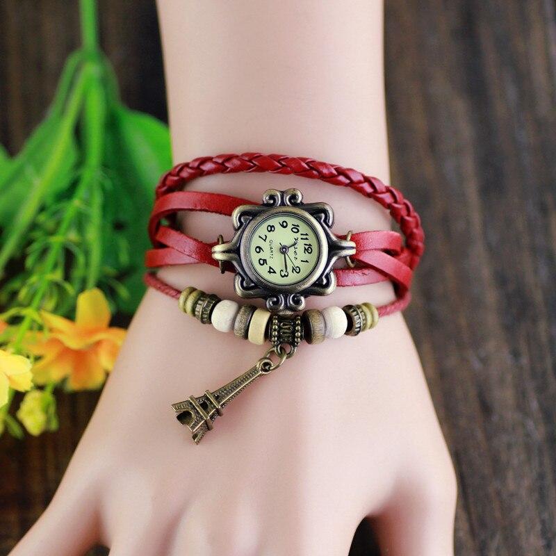 Senhoras Da Moda Relógio De Quartzo Das Mulheres do vintage Meninas Towe Eiffel Pingente Horas itens Bead Pulseira relógio de Pulso Relógio Horas reloj mujer 8A42
