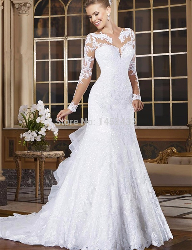 Vestido de noiva see through back mermaid wedding dress long sleeves lace wedding dress 2015 vestido