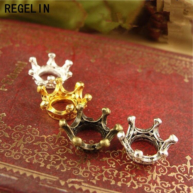 REGELIN 50 pc/lote Retro Vintage Coroa Encantos Estilo Europeu Charme Contas de Metal Spacer Beads Colar Pulseira DIY Fazer Jóias