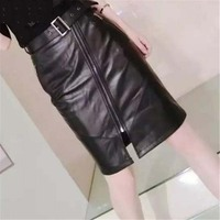 2020 new fashion summer spring women's genuine leather skirt mini short straight tight pencil skirt for sexy lady female black