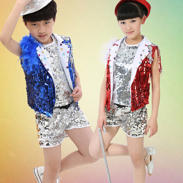 6224047f81b1 KIDS Sequins morden Jazz dance Costumes Children s Paillette dance ...
