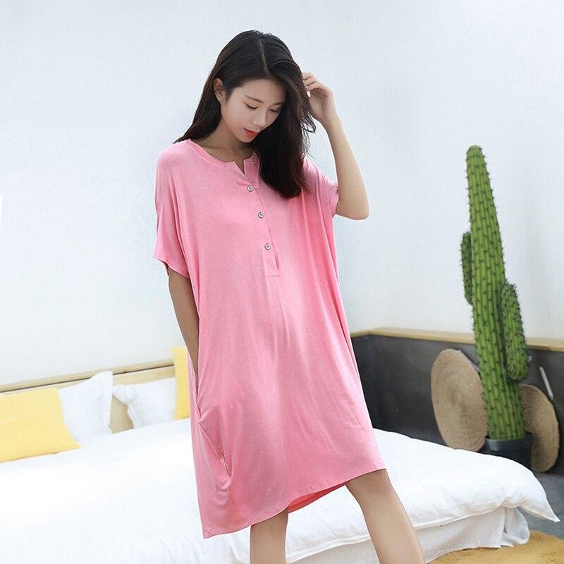 Мягкая одежда для сна для беременных женщин; платье для беременных с короткими рукавами; Пижама для беременных женщин; сезон лето-осень; одежда для сна для беременных - Цвет: Pink