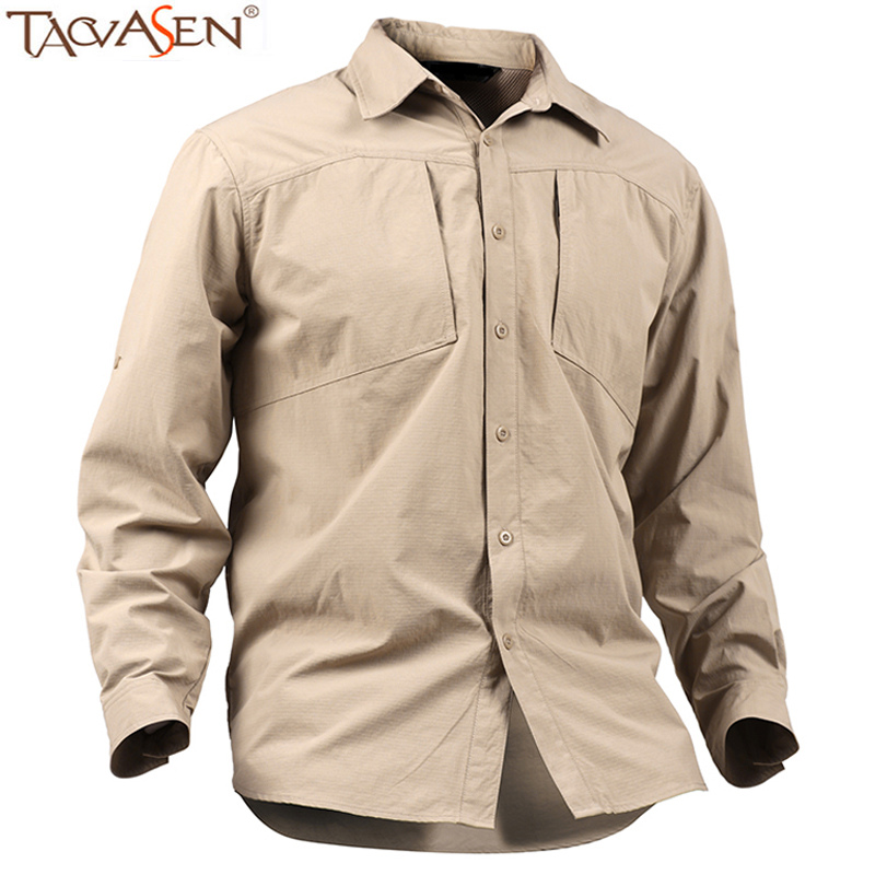 Tacvasen fishing shirt men outdoor shirts long sleeve for Mens outdoor long sleeve shirts