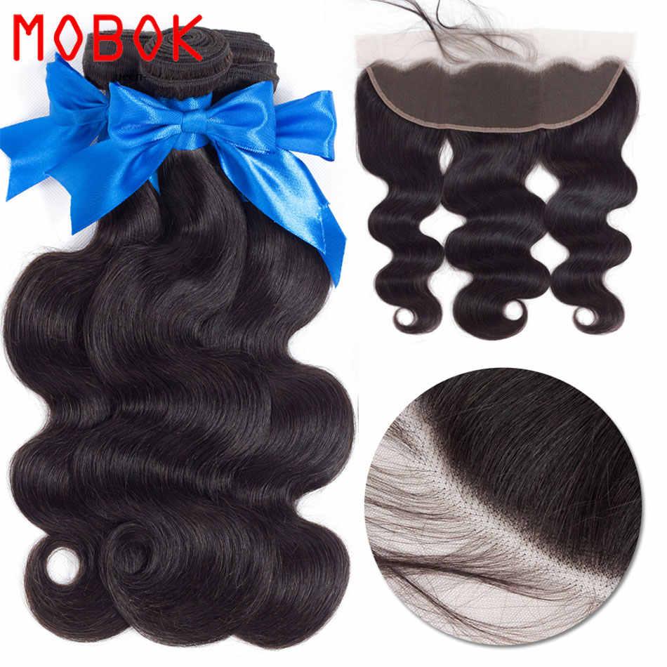 Мобок сырой индийские пучки волос с фронтальной 13x4 волнистые человеческие волосы 9А пучки с фронтальной дешевой человеческие волосы пучки 4