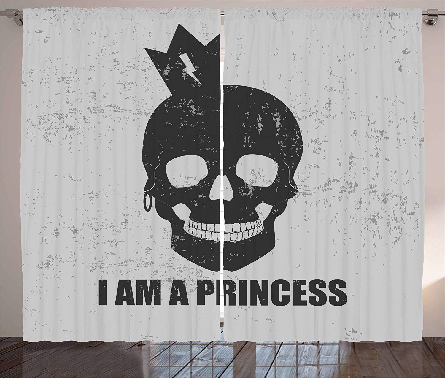 I Am A Princess Curtains Skull With A Crown Skeleton Halloween Theme Grunge Look Living Room Bedroom Window Decor Panel Set
