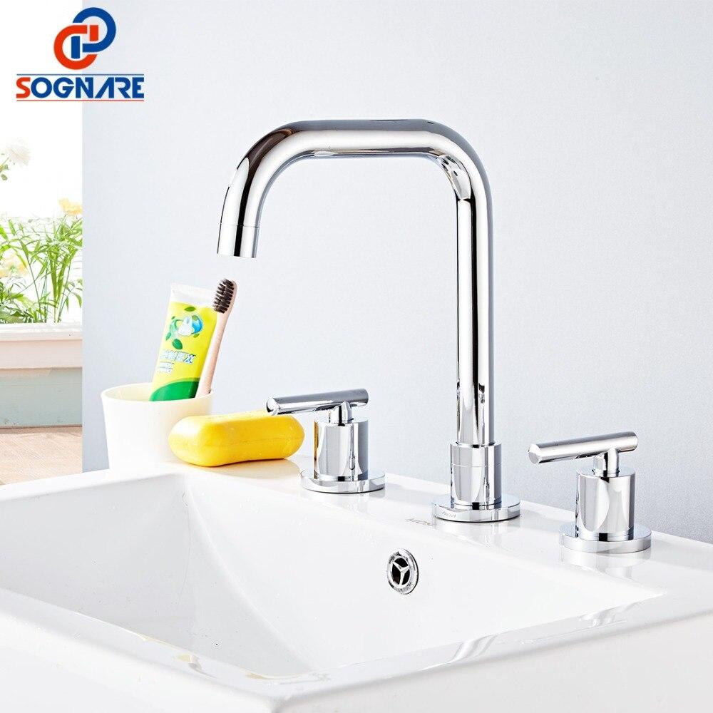 SOGNARE robinet de lavabo contemporain en laiton chromé pour robinet d'évier de salle de bain robinet d'eau chaude froide mitigeur de lavabo 3 trous Double poignée robinets